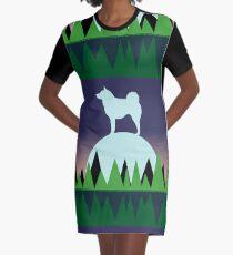 Norwegian Elkhound Moon Graphic T-Shirt Dress