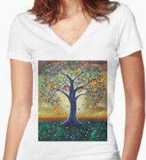 'The Giving Tree' (Dedicated to Shel Silverstein) Women's Fitted V-Neck T-Shirt