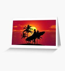 Longboard Sunset Surfer Dude Greeting Card