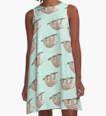 cute mint and peach sloth dot pattern A-Line Dress