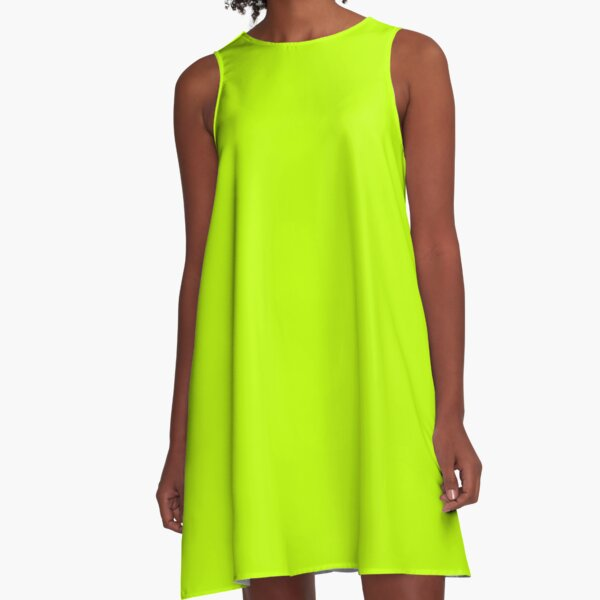 Bitter Lime Neon Green Yellow Solid Color A-Line Dress