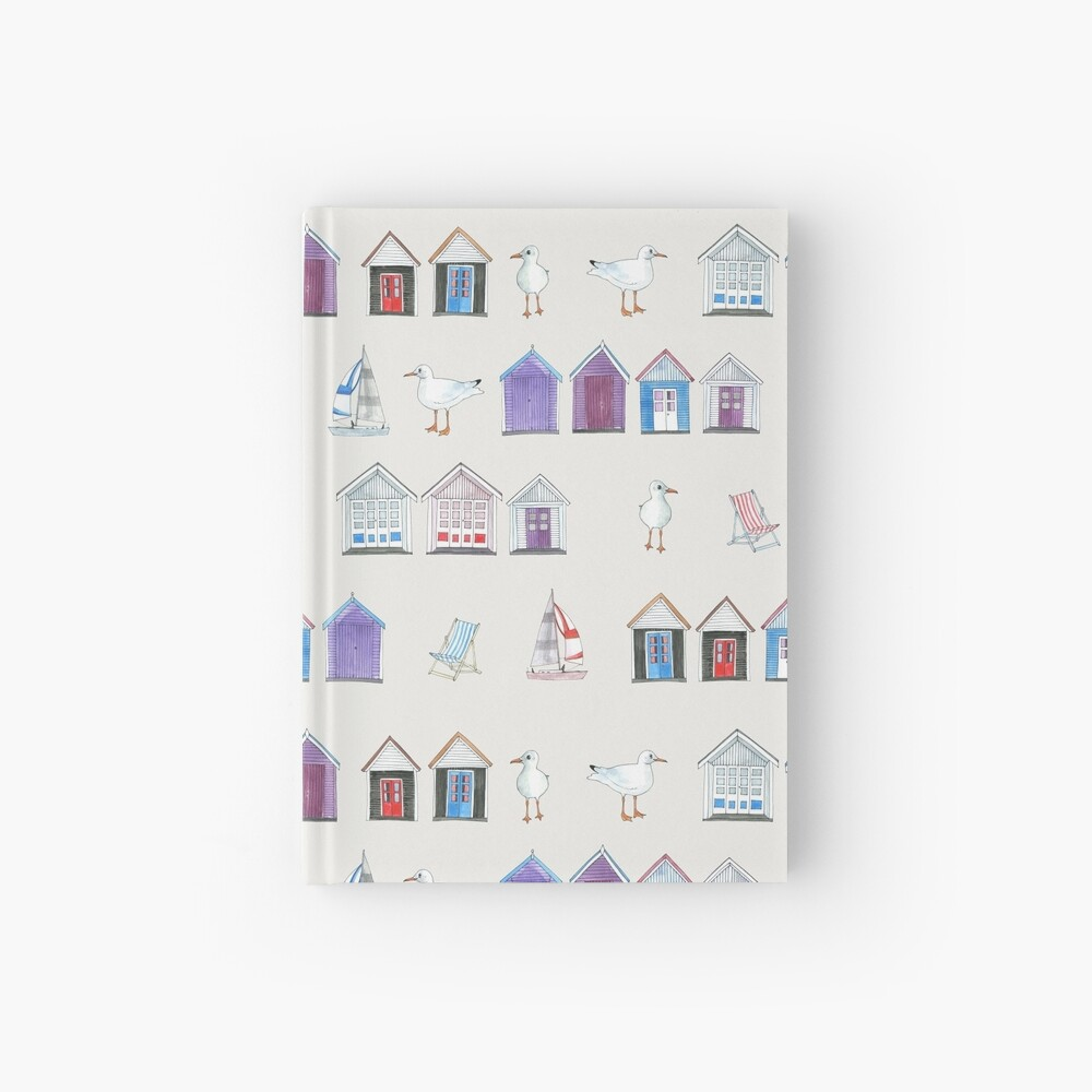 Beach Huts, Bournemouth - on grey - original watercolour pattern by Cecca Designs Hardcover Journal