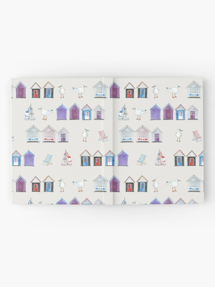 Alternate view of Beach Huts, Bournemouth - on grey - original watercolour pattern by Cecca Designs Hardcover Journal
