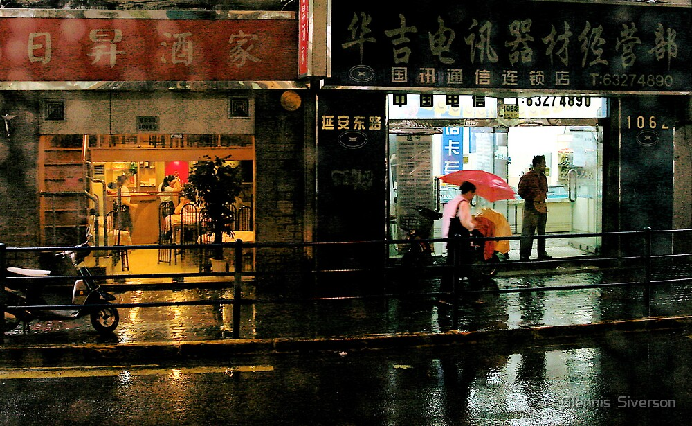 Rainy Evening in Shanghai by Glennis  Siverson