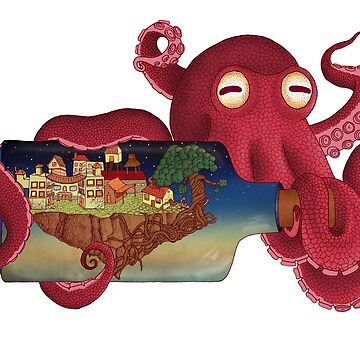 World in bottle: Atalantis (Octopus - monster) by Beatrizxe