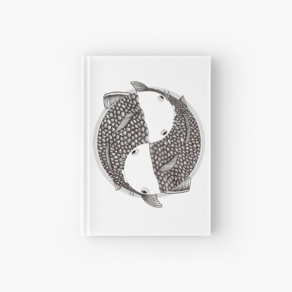 Pisces - Fish Koi - Japanese Tattoo Style (black and white) Hardcover Journal