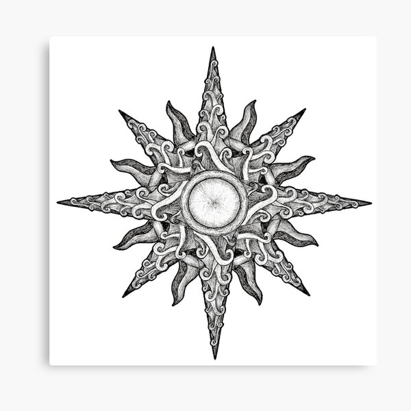Surf in a Windrose – Compass (tattoo style) Canvas Print