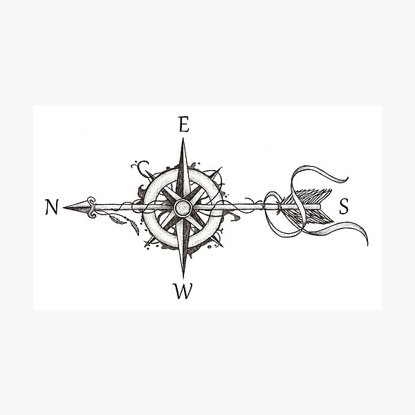 Compass with arrow Photographic Print