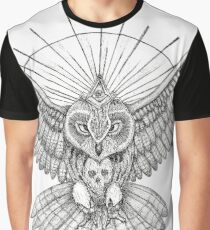 Mason Owl with skull, rule, compass and the eye that sees everything (tattoo style) Graphic T-Shirt