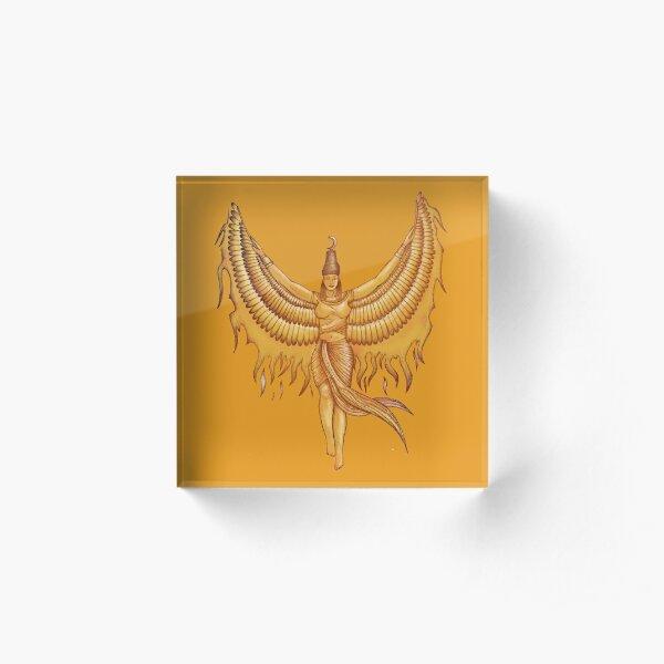 Isis, Goddess Egypt with wings of the legendary bird Phoenix Acrylic Block