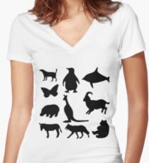 Animal Collage 5 Women's Fitted V-Neck T-Shirt