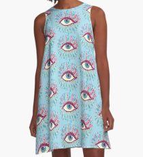 Weird Blue Psychedelic Eye A-Line Dress