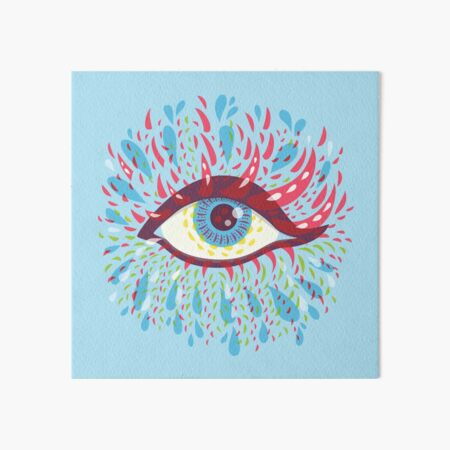 Weird Blue Psychedelic Eye Art Board Print