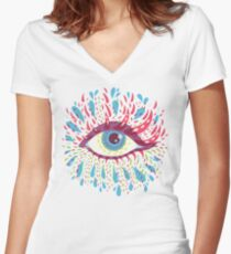 Weird Blue Psychedelic Eye Women's Fitted V-Neck T-Shirt