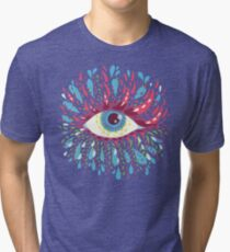Weird Blue Psychedelic Eye Tri-blend T-Shirt
