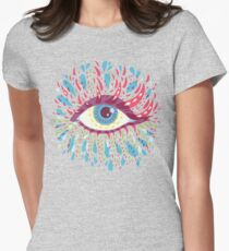 Weird Blue Psychedelic Eye Womens Fitted T-Shirt