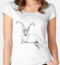 Rough Ibex pen drawing Women's Fitted Scoop T-Shirt