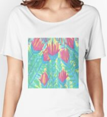 Lotus Watercolor Print Women's Relaxed Fit T-Shirt