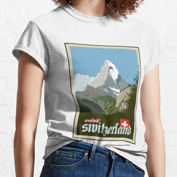Visit Switzerland Vintage Travel Poster Graphic Classic T-Shirt