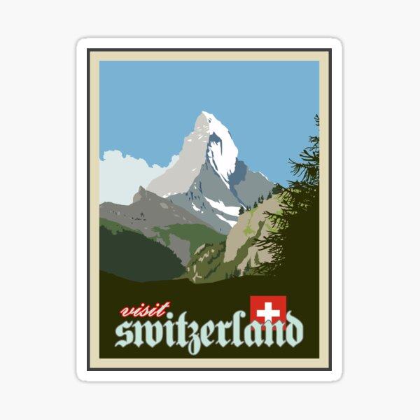 Visit Switzerland Vintage Travel Poster Graphic Sticker