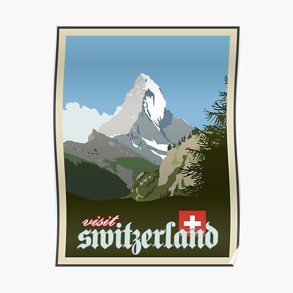 Visit Switzerland Vintage Travel Poster Graphic Poster