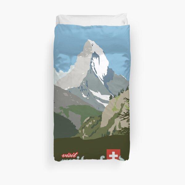 Besuchen Sie die Schweiz Vintage Travel Poster Grafik Bettbezug