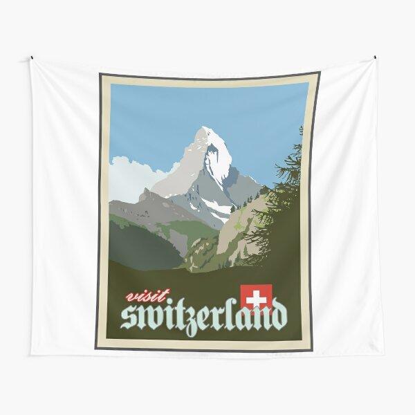 Visit Switzerland Vintage Travel Poster Graphic Tapestry