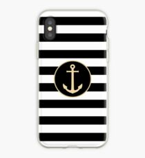 Anchor On Black And White Stripes iPhone Case
