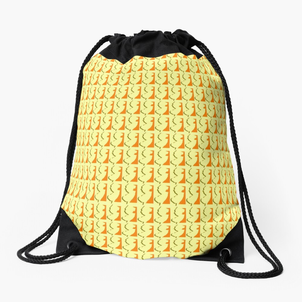 New Jersey Orange & Yellow tiled image Drawstring Bag