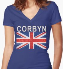 Jeremy Corbyn Tee - New Labour Party Election Women's Fitted V-Neck T-Shirt