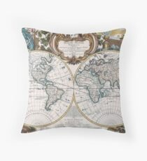 Double Hemisphere Map; Map; George Louis Le Rouge; c 1744 Throw Pillow