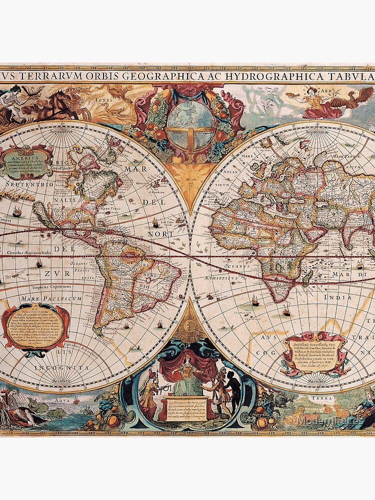 Double Hemisphere Map; Henricus Hondius; c 1630 by ModernFaces