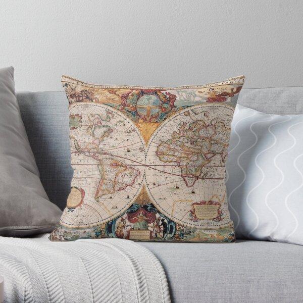 Double Hemisphere Map; Henricus Hondius; c 1630 Throw Pillow