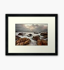Surging ocean over rocks at Forresters Beach Australia seascape landscape Framed Print