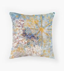 Bluebirds in the Snow Designer Art by Marie-Jose Pappas Throw Pillow