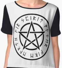 wicca pentagram spirit water fire earth air Women's Chiffon Top