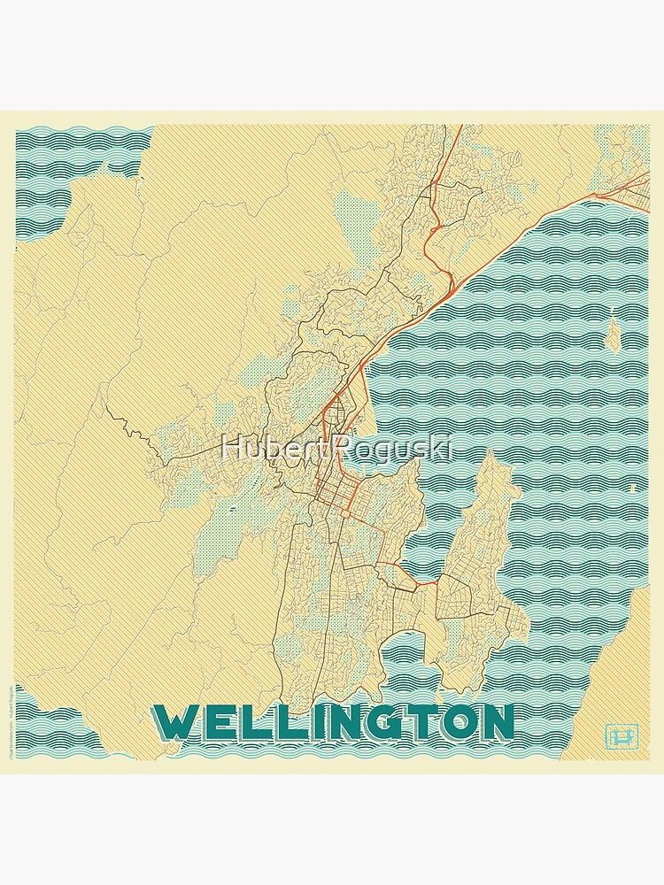 Wellington Map Retro by HubertRoguski