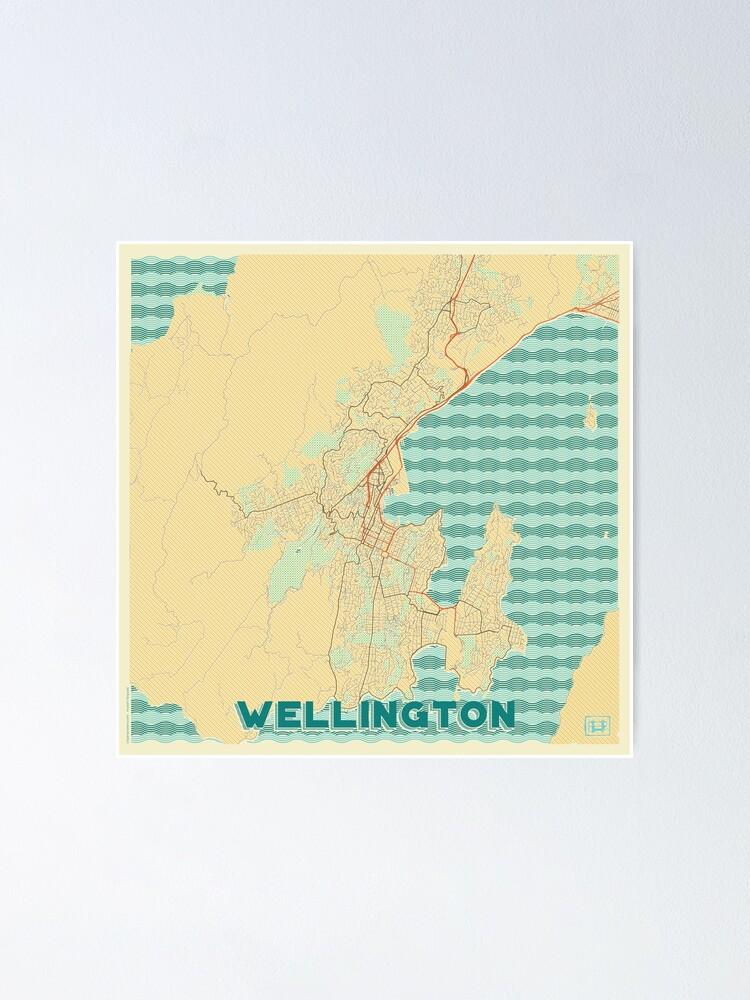 Alternate view of Wellington Map Retro Poster