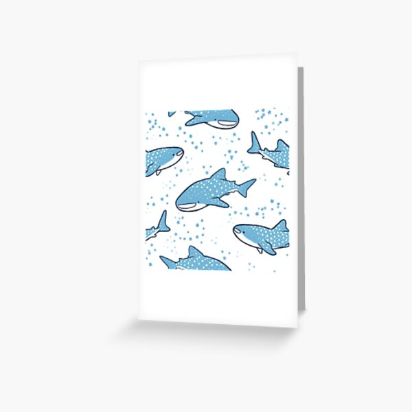 Starry Whale Sharks (Light version) Greeting Card