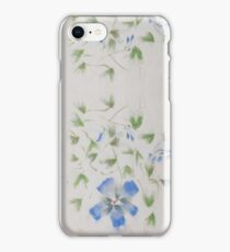 Chinese Watercolor Painted Blue Flowers iPhone Case/Skin