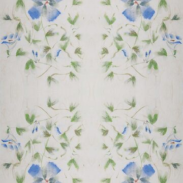 Chinese Watercolor Painted Blue Flowers by dianecmcac