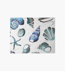 South pacific sea shells - white marble Art Board