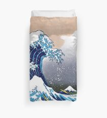 Große Welle aus Kanagawa von Hokusai Wandteppich Vektorisierte HD-Qualität (Klicken Sie auf Artist Notes) Bettbezug