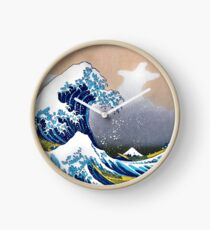 Great Wave of Kanagawa Wall Tapestry Vectorized HD High Quality Clock