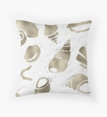 Golden South Pacific sea shells - white marble Throw Pillow