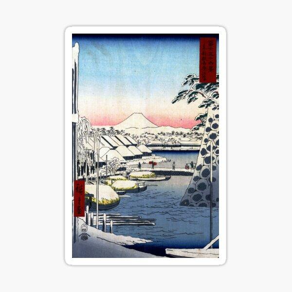 Utagawa Hiroshige Riverbank at Sukiya in Edo Sticker
