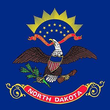 North Dakota State Flag T-Shirt - Bismark Fargo Capital Sticker by deanworld
