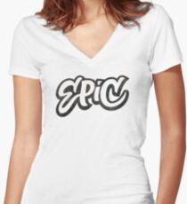 EPIC Lettering - Graffiti Style on White Women's Fitted V-Neck T-Shirt