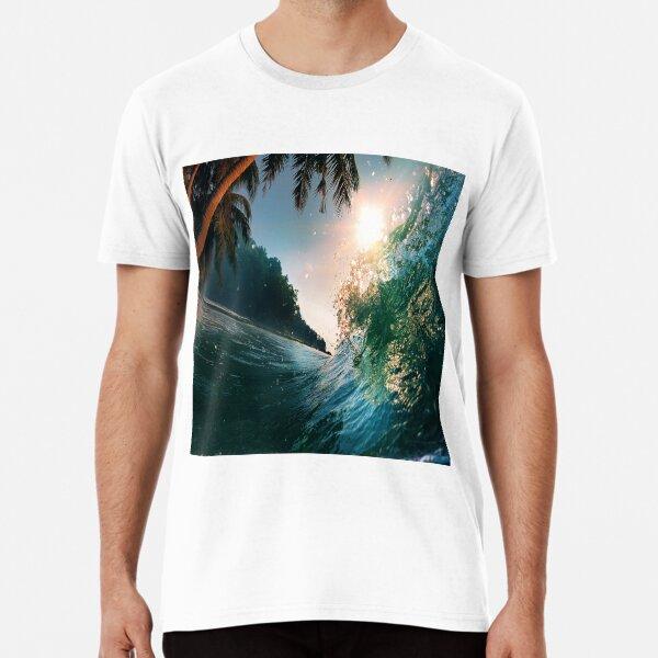 Beach Waves Palm Trees Summer Ocean  Premium T-Shirt