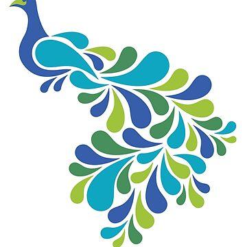 Abstract Peacock by Lisann